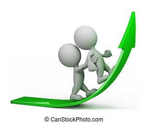 one person helps another to climb up on the green arrow. 3d image. Isolated white background.