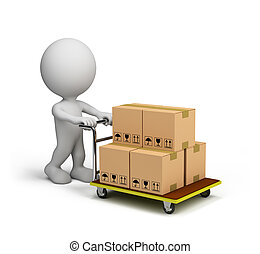 3D man pushes a trolley with boxes. 3D image. White background.