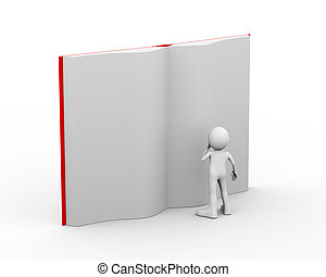 3d person reading large open book
