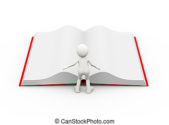 3d person reading open book