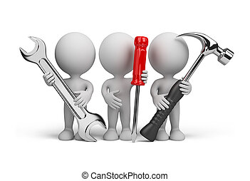 3d person – repairers - Three people with the tools in the...