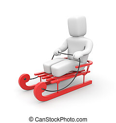 Person riding on red sled