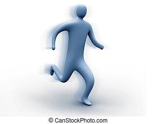 3d person running.