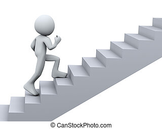 3d Illustration of man running on stair. 3d rendering of human character