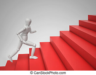 3D person running up the stairs
