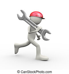 3d person running with large wrench