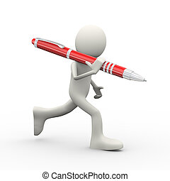 3d person running with pen