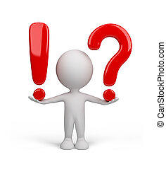 3d person - with a question and exclamation mark. 3d image. Isolated white background.