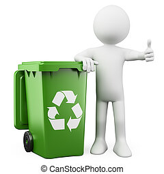 3D person showing a green bin for recycling. Rendered on a...