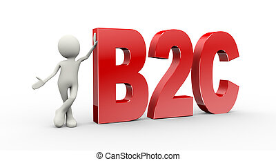 3d person standing with b2c business to consumer