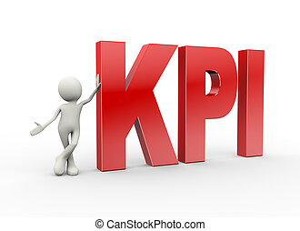 3d person standing with kpi key performance indicator