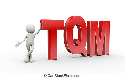 3d person standing with tqm  total quality management