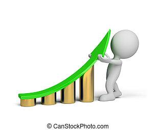 3d person - statistics improvement - A man lifts a green up ...