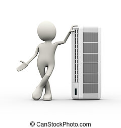 3d person stylish standing with air conditioner