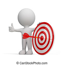 3d person - success target - Red arrow in the center of the...
