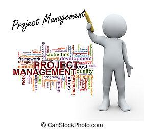 3d, person, und, projektmanagement, wort, etikette