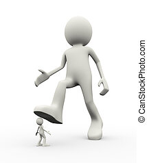 3d person under big leg foot - 3d illustration of employer...