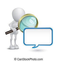 3d person watching a blank speech bubble with a magnifying glass
