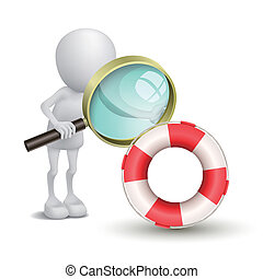 3d person watching a buoy with a magnifying glass