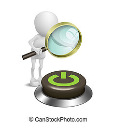 """3d person watching a button with """"Power"""" with a magnifying glass"""