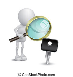 3d person watching a car key with a magnifying glass