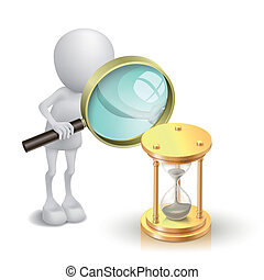 3d person watching a hourglass with a magnifying glass