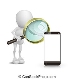 3d person watching a mobile phone with a magnifying glass