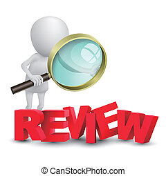 """3d person watching a word """"review"""" with a magnifying glass"""