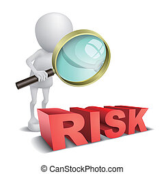 """3d person watching a word """"Risk"""" with a magnifying glass"""