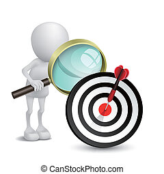 3d person watching dart hitting a target with a magnifying glass