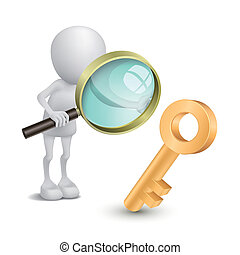 3d person with a big magnifying glass looking at the golden key