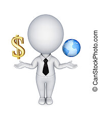 3d person with a dollar sign and planet earth.