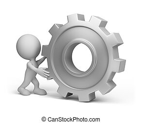 3d person with a gear wheel - 3d person pushing a gear. 3d...