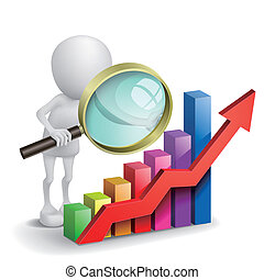 3d person with a graph financial and a magnifier