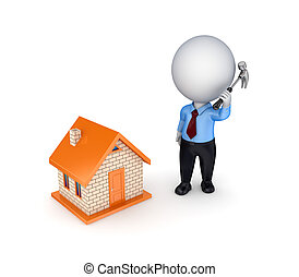 3d person with a hammer in a hand and small house.