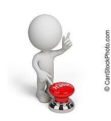 3d person with a Help button - 3d person, pushing a red...