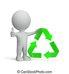 3d person with a recycling symbol