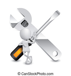 3d person with a screwdriver and a wrench
