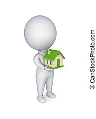 .3d person with a small house in a hands.