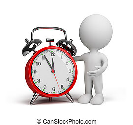 3d person with an alarm clock - 3d person with a red alarm...