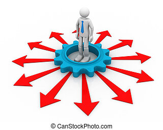 3d person with arrows around isolated over a white background