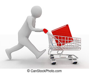 3d person with book in the shopping cart