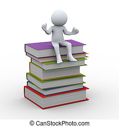 3d person with books - 3d illustration of man sitting on top...