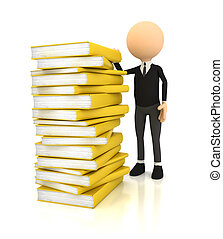 3d person with books over white