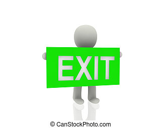 3d person with exit banner