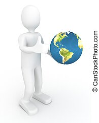 3d person with globe