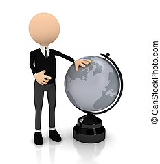 3d person with globe over white
