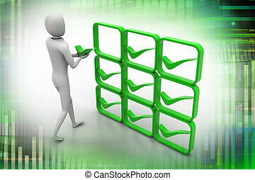 3d person with green positive symbol in hands