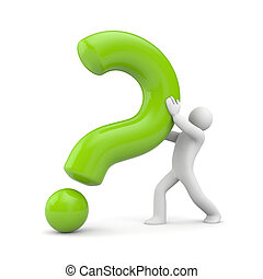3d person with green question mark