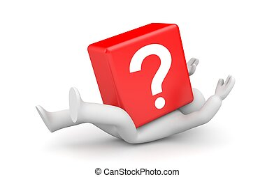 3d person with heavy red question mark - Business concept....